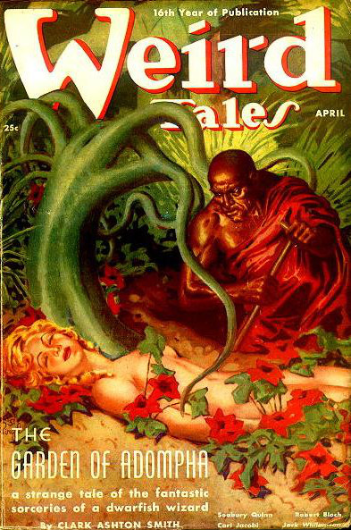 "Weird Tales (April 1938) featuring ""The Garden of Adompha"" von Clark Ashton Smith. Cover art: Virgil Finlay."