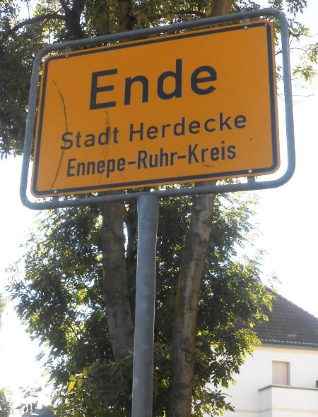 Das Ortseingangsschild von Ende, Stadt Herdecke